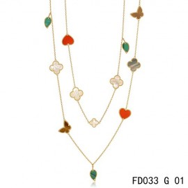 Van Cleef Arpels Replica Lucky Alhambra Long Necklace Rose Gold 12 Motifs Stone Combination