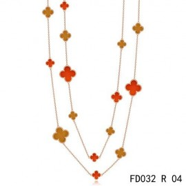 Van Cleef Arpels Replica Magic Alhambra Long Necklace Pink Gold 16 Motifs Stone Combination
