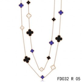 Van Cleef Arpels Replica Magic Alhambra 16 Motifs Stone Combination Long Necklace Pink Gold