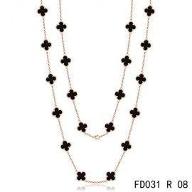 Van Cleef Arpels Replica Vintage Alhambra Long Necklace 20 Motifs Black Onyx Pink Gold