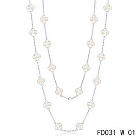 Van Cleef Arpels Replica Vintage Alhambra White Gold Long Necklace 20 Motifs White MOP