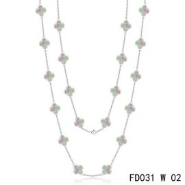 Van Cleef Arpels Replica Vintage Alhambra White Gold Long Necklace 20 Motifs Grey MOP