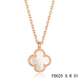 Van Cleef & Arpels Knockoff Sweet Alhambra Necklace Pink Gold White Mother of Pearl