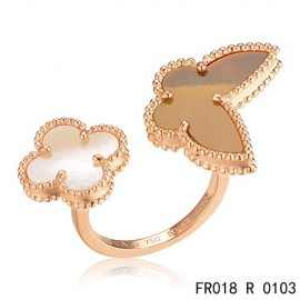 Van Cleef Arpels Pink Gold Lucky Alhambra Between the Finger Ring Replica Stone Combination