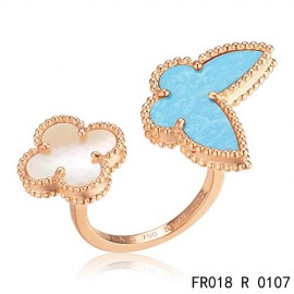 Van Cleef Arpels Lucky Alhambra Between the Finger Rose Gold Ring Replica Stone Combination