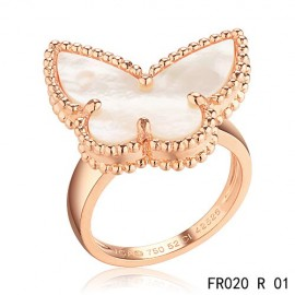 Van Cleef & Arpels Lucky Alhambra Butterfly Ring Replica Pink Gold with White Mother-of-pearl