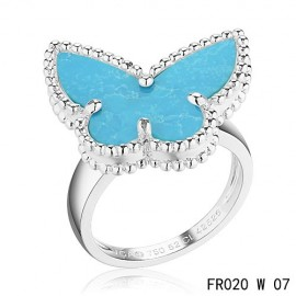 Van Cleef and Arpels Lucky Alhambra Butterfly Ring Replica White Gold with Turquoise