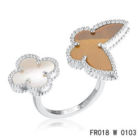 Van Cleef Arpels White Gold Lucky Alhambra Between the Finger Ring Replica Stone Combination
