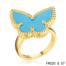 Van Cleef and Arpels Lucky Alhambra Butterfly Ring Replica Yellow Gold with Turquoise