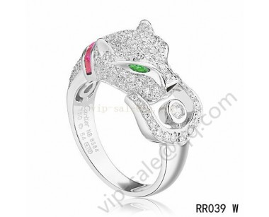 Cartier panther ring in white gold with diamonds emeralds amethyst onyx