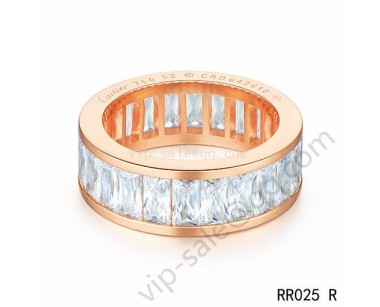 Cartier Round ring in pink gold with crystal