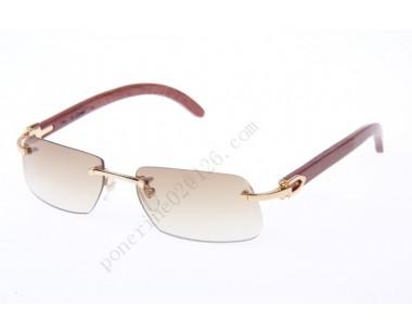 2016 Cartier 4189706 Wood Sunglasses, Gold Brown