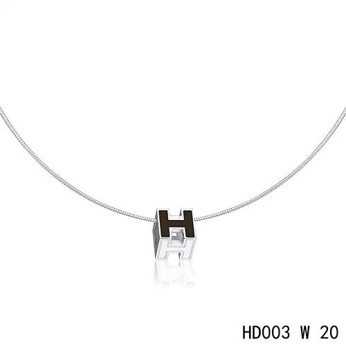Hermes Cage d'H pendant black in lacquer with white gold