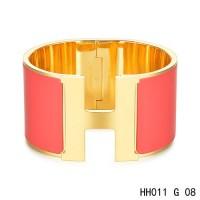 Hermes Clic H Extra-Large Bracelet / red enamel / yellow gold