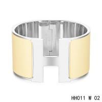 Hermes Clic H Extra-Large Bracelet / cream enamel / white gold