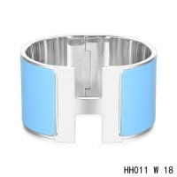 Hermes Clic H Extra-Large Bracelet / transat blue enamel / white gold