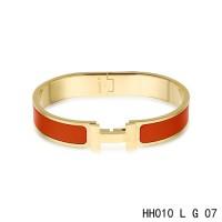 Hermes Clic H narrow Bracelet / enamel red / yellow gold