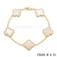 Van cleef & arpels bracelet<li>jaune avec 5 motifs de couleur blanche