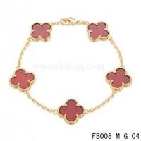 Van cleef & arpels bracelet<li>jaune avec 5 motifs de couleur rouge