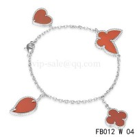 Van cleef & arpels Lucky Alhambra Bracelet<li>White gold with 4 Stone Combination Motifs