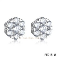 Van Cleef and Arpels Fleurette earstuds white gold earrings with 7 diamonds
