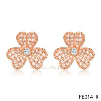 Van Cleef and Arpels Frivole pink gold earrings with diamonds wholesale
