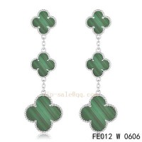 Van Cleef and Arpels Malachite white gold earrings replica