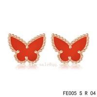 Van Cleef and Arpels Butterflies Carnelian pink gold earrings