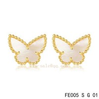 Van Cleef and Arpels Butterflies White mother of pearl yellow gold earrings