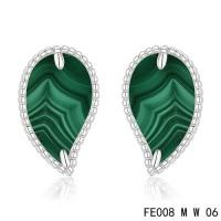 Van cleef & arpels Sweet Alhambra Leaf Earrings white gold,malachite