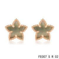 Van cleef & arpels Sweet Alhambra Star Earrings pink gold,Brown Mother-of-Pearl