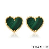 Van cleef & arpels Sweet Alhambra heart Earrings yellow gold,malachite