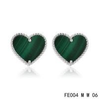 Van cleef & arpels Sweet Alhambra heart Earrings white gold,malachite