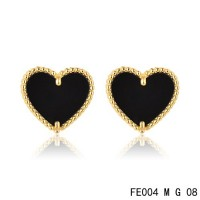 Van cleef & arpels Sweet Alhambra heart Earrings yellow gold,onyx