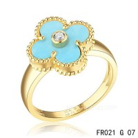 Van Cleef Vintage Alhambra ring<li>In yellow gold with turquoise replica