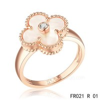 Van Cleef Vintage Alhambra ring<li>In pink gold with white mother-of-pearl knockoffs