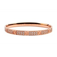 Cartier Love bangle bracelet in pink gold with diamonds