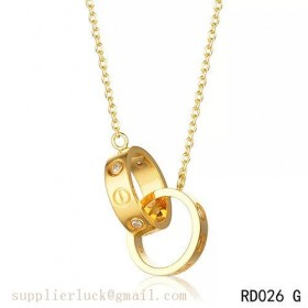 Cartier love necklace in 18K yellow gold with two rings