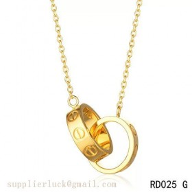 Cartier love necklace with two 18K yellow gold rings