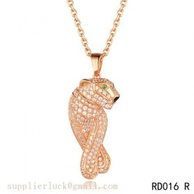 Panthere de Cartier necklace in 18K pink gold with emeralds and diamonds