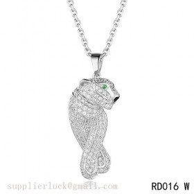 Panthere de Cartier necklace in 18K white gold with emeralds and diamonds