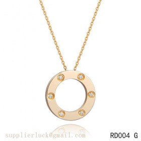 Cartier pink gold pendant love necklace with diamonds