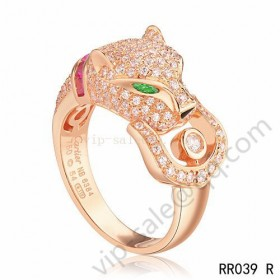 Cartier panther ring in pink gold with diamonds emeralds amethyst onyx