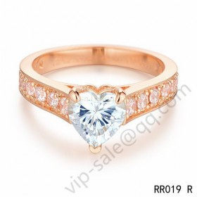 Cartier destin�e solitaire wedding band ring in pink gold with diamonds