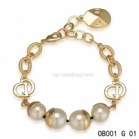 Dior white pearl bracelet in yellow