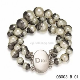 """MISE EN DIOR"" BRACELET with black & white pearl"