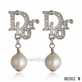 DIOR OBLIQUE Earring in the white gold with Silver resin beads pendants