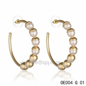 MISE EN DIOR Hoops Earring in the cream resin beads accentuated with gold-plated cups