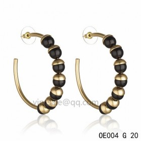 MISE EN DIOR Hoops Earring in the black resin beads accentuated with gold-plated cups