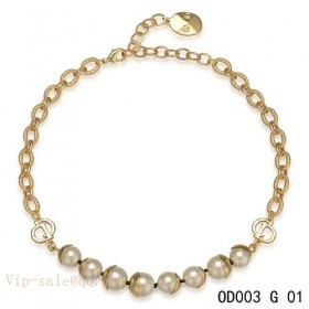 "White Pearls ""MISE EN DIOR"" short necklace in yellow gold"